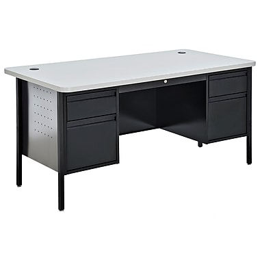 Sandusky® 60in. x 30in. Double Pedestal Contemporary Steel Desk, Black/Grey Nebula
