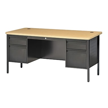 Sandusky® 60in. x 30in. Double Pedestal Contemporary Steel Desk, Black/Maple