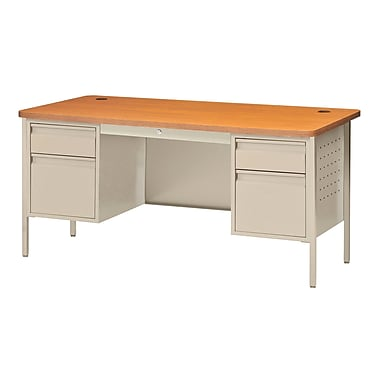 Sandusky® 60in. x 30in. Double Pedestal Contemporary Steel Desk, Putty/Medium Oak