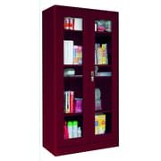 "Sandusky® Elite 36"" x 18"" x 72"" Radius Edge Clearview Storage Cabinet, Burgundy"