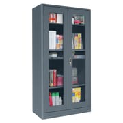 "Sandusky® Elite 36"" x 18"" x 72"" Radius Edge Clearview Storage Cabinet, Charcoal"