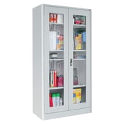 "Sandusky® Elite 36"" x 18"" x 72"" Radius Edge Clearview Storage Cabinet, Dove Gray"