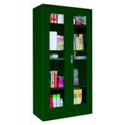 "Sandusky® Elite 36"" x 18"" x 72"" Radius Edge Clearview Storage Cabinet, Forest Green"