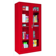 "Sandusky® Elite 36"" x 18"" x 72"" Radius Edge Clearview Storage Cabinet, Red"