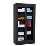 "Sandusky® Elite 72"" x 36"" x 18"" Sliding Door Clearview Storage Cabinet, Black"