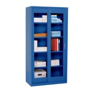 "Sandusky® Elite 72"" x 36"" x 18"" Sliding Door Clearview Storage Cabinet, Blue"