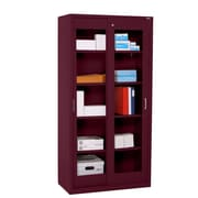 "Sandusky® Elite 72"" x 36"" x 18"" Sliding Door Clearview Storage Cabinet, Burgundy"