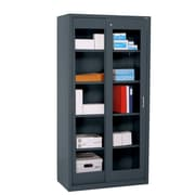 "Sandusky® Elite 72"" x 36"" x 18"" Sliding Door Clearview Storage Cabinet, Charcoal"