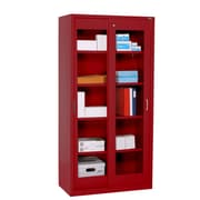 Sandusky® Elite 72 x 36 x 18 Sliding Door Clearview Storage Cabinet, Red