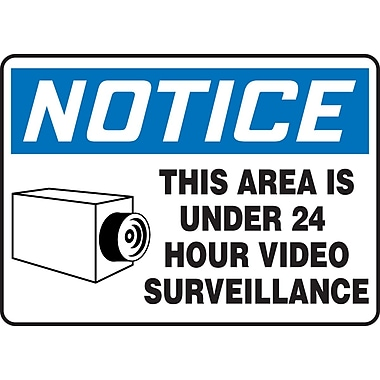 Accuform Signs®-Panneau NOTICE THIS AREA IS UNDER 24 HOUR VIDEO SURVEILLANCE avec symbole graphique, 7x10, vinyle adhésif