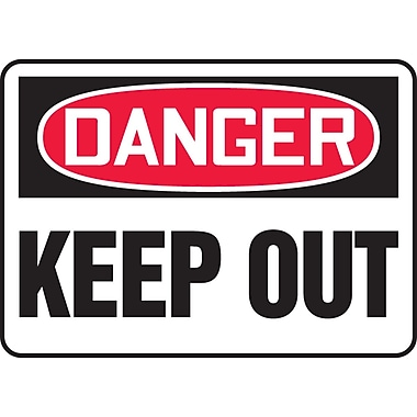 Accuform Signs® - Panneau de sécurité « DANGER KEEP OUT », 7 po x 10 po, plastique
