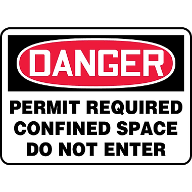 Accuform Signs® - Panneau de sécurité « DANGER PERMIT REQUIRED CONFINED SPACE DO NOT ENTER », 10 po x 14 po