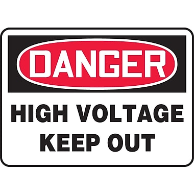 Accuform Signs® - Panneau de sécurité « DANGER HIGH VOLTAGE KEEP OUT », 7 po x 10 po, plastique