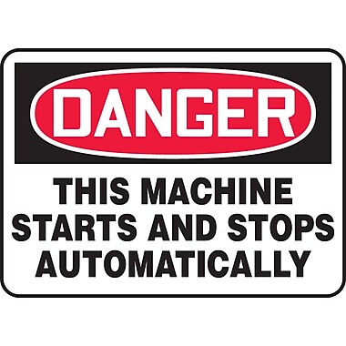 Accuform Signs® - Panneau de sécurité « DANGER THIS MACHINE STARTS AND STOPS AUTOMATICALLY », 10 po x 14 po, vinyle adhésif