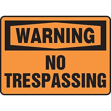 Accuform Signs® - Panneau de sécurité « WARNING NO TRESPASSING », 10 po x 14 po, plastique