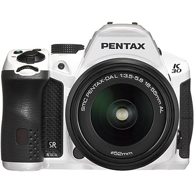Pentax K-30 DSLR White Camera With DA 18 - 55mm f/3.5-5.6 AL WR Zoom Lens