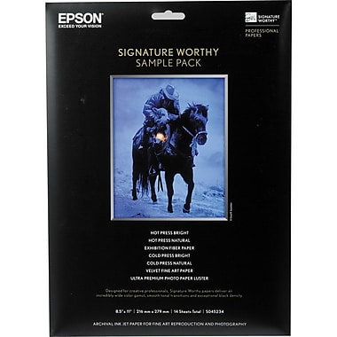Epson 8 1/2in. x 11in. Signature Worthy Sample Packs Paper, White, 14 Sheets
