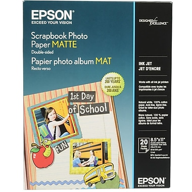 Epson 8 1/2in. x 11in. 52 lbs. Scrapbook Matte Double-Sided Photo Paper, White, 20 sheets
