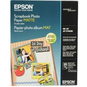 Epson 8 1/2 x 11 52 lbs. Scrapbook Matte Double-Sided Photo Paper, White, 20 sheets