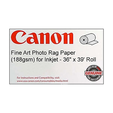 Canon 188gsm Fine Art Photo Rag Paper by Hahnemuhle, Velvet, 36in.(W) x 39'(L), 1/Roll