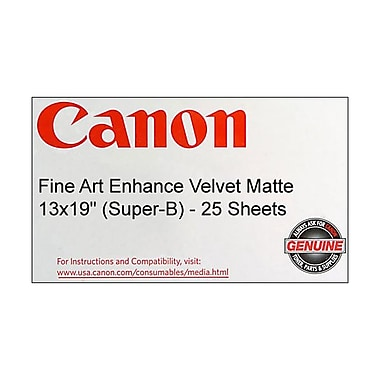 Canon 225gsm Fine Art Enhanced Velvet Matte Paper, 13in. x 19in. (Super-B)