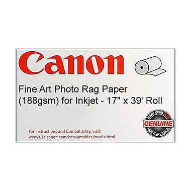 Canon 188gsm Fine Art Photo Rag Paper by Hahnemuhle, Velvet, 17in.(W) x 39'(L), 1/Roll