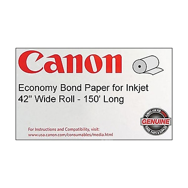 Canon 75gsm Economy Bond Paper, Matte, 42in.(W) x 150'(L), 1/Roll