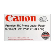 "Canon 255gsm Premium RC Photo Paper, Luster, 24""(W) x 100'(L), 1/Roll"