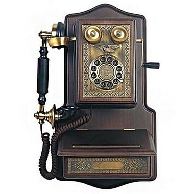 Paramount® AW1907 Wooden Wall Reproduction Phone, Black/Brown