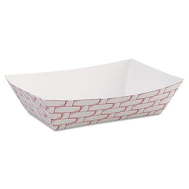 Boardwalk® 6 oz. Paper Food Tray, Red Weave, 1000/Case