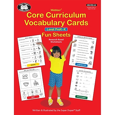 Super Duper® Webber Core Curriculum Vocabulary Cards Fun Sheets, Level PreK-K