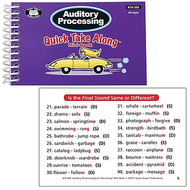 Super Duper® Auditory Processing Quick Take Along Mini-Book, All Ages