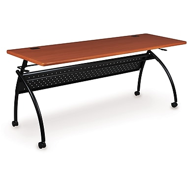 Balt Chi Flipper 60in. Wood/PVC Seminar Table With Black Frame, Cherry