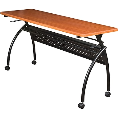 Balt Chi Flipper 72in.x 20in. Wood/PVC Seminar Table With Black Frame, Cherry