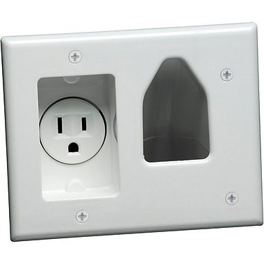 Datacomm™ Recessed Low Voltage Cable Plate With Recessed Power, White