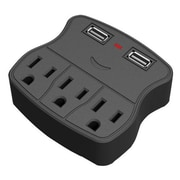 QVS® PS-05U 5 Outlet Wallmount Power Strip With Dual-USB Ports, Black