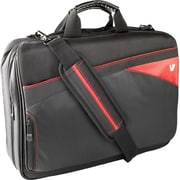 V7® Edge 16.1 Toploader Laptop Bag With Red Trim, Black