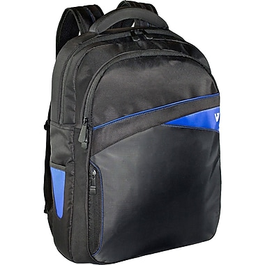 V7® Edge 17.3in. Laptop Backpack With Blue Trim, Black