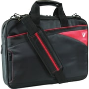 V7® Edge 14.1 Toploader Ultra Slim Laptop Bag With Red Trim, Black