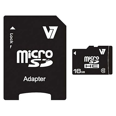 V7® VAMSDH16GCL10R-2N MicroSD High Capacity Flash Memory Card, 16GB