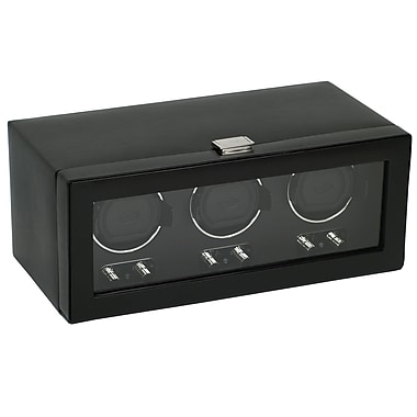 WOLF Heritage Module 2.1 Triple Watch Winder With Cover and Lock-In Cuff, Black