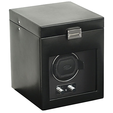 WOLF Heritage Module 2.1 Single Watch Winder With Cover and Storage, Lock-In Cuff, Black