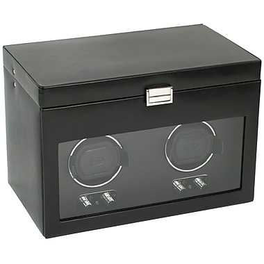 WOLF Heritage Module 2.1 Double Watch Winder With Cover, Storage and Travel Case, Black