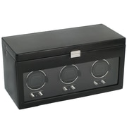 WOLF Heritage Module 2.1 Triple Watch Winder With Cover, Storage and Travel Case, Black