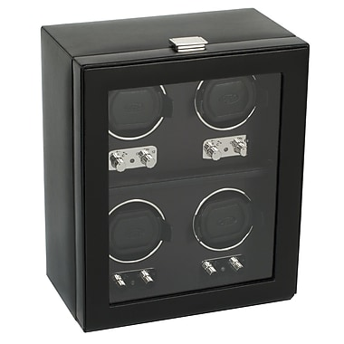 WOLF Heritage Module 2.1 4 Watch Winder With Cover, Black