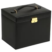 WOLF Heritage Large Jewelry Case With Side Panel Doors, Five Drawers and Travel Case, Black