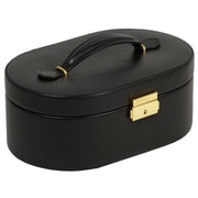 WOLF Heritage Oval Jewelry Case With Folding Tray, Black