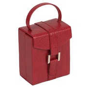WOLF Heritage Collection 4 x 3 1/2 x 2 South Molton Travel Mini Foldout Jewelry Box, Red