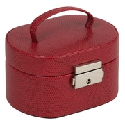 WOLF Heritage Collection 2 3/4 x 4 3/4 x 3 1/2 Travel Mini Oval Jewelry Box, Red