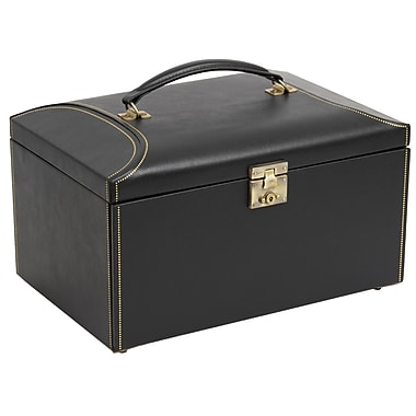 WOLF Abbot 5 1/2in. x 13in. x 9 1/2in. Large Jewelry Case, Black